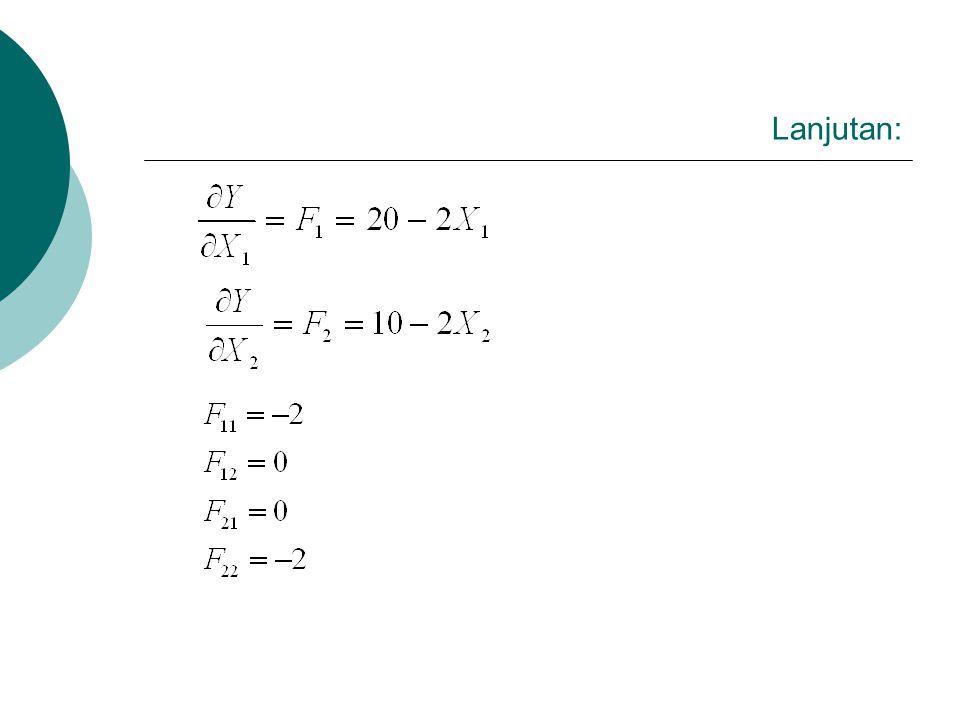 Lanjutan:  Persamaan (1) : 20 – 2X1 = 0, sehingga X1* = 10  Persamaan (2) : 10 – 2X2 = 0, sehingga X2* = 5  Dan nilai optimal fungsi : Y* = 20 (10) – (10)2 + 10 (5) – (5)2 Y* = 125  Titik-titik optimal yang mungkin terjadi pada fungsi yang kontinyu dapat dilihat pada gambar (4.2) berikut ini (AC.