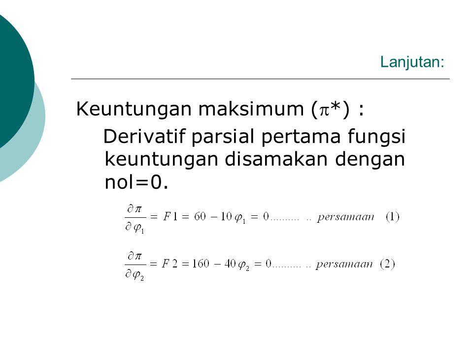 Lanjutan: Keuntungan ()  = (TR1 + TR2) – TC  = 60 1 – 5 12 + 160 2 – 20 22 – 50 Keuntungan maksimum (*) : Derivatif parsial pertama fungsi keuntungan disamakan dengan nol.