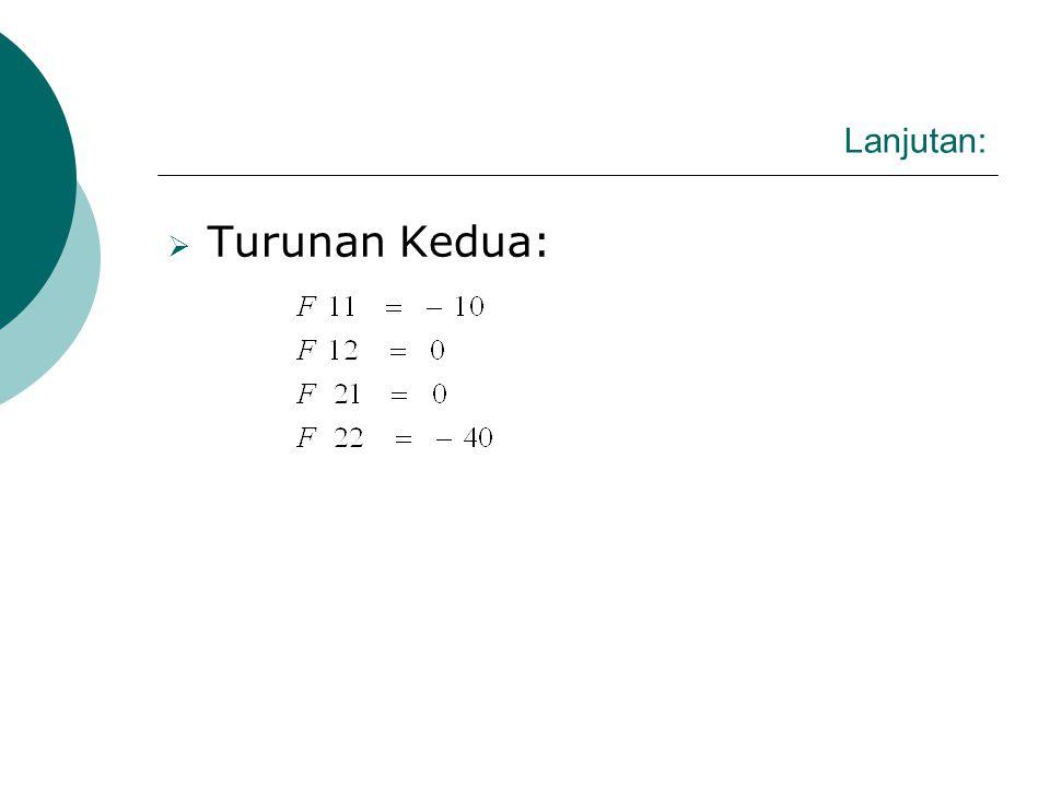 Lanjutan:  Apakah Nilai optimal fungsi maksimum atau minimum dlihat dari derivatif kedua fungsi keuntungan :  Turunan Pertama Fungsi: