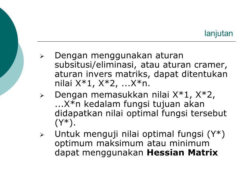 II. TEKNIK PENENTUAN TITIK OPTIMUM  Misalnya suatu fungsi Y = f (x1, x2, ….xn) dY/dX1 = F1 = 0............(1) dY/dX2 = F2 = 0.............(2) dY/dXn