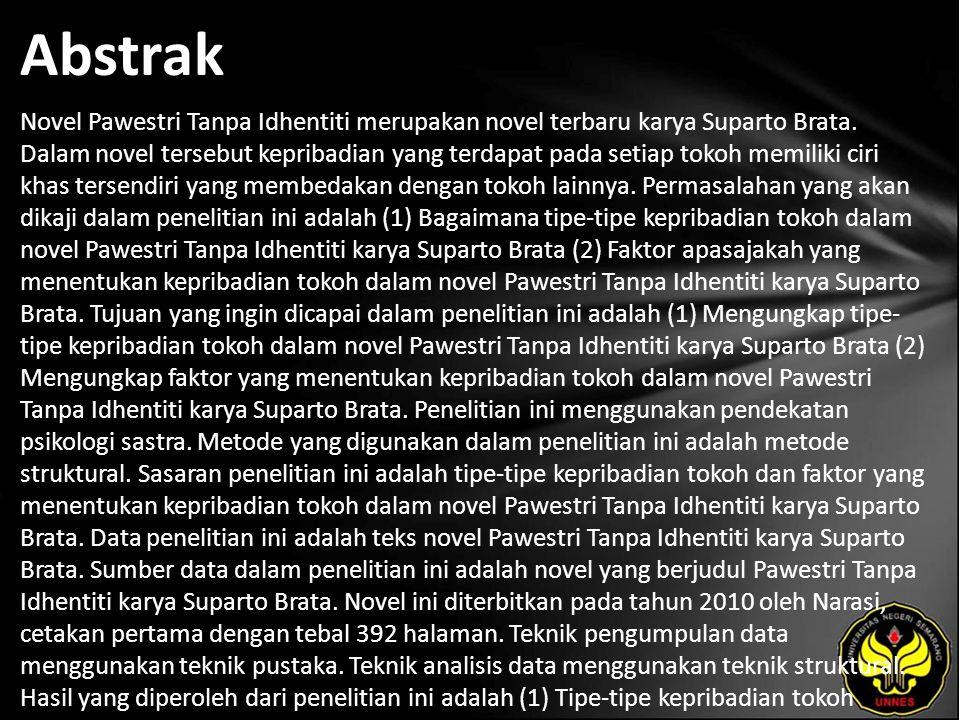 Abstrak Novel Pawestri Tanpa Idhentiti merupakan novel terbaru karya Suparto Brata. Dalam novel tersebut kepribadian yang terdapat pada setiap tokoh m