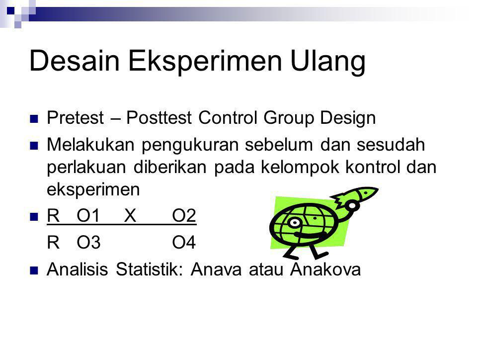 Desain Eksperimen Sederhana  Post Test Only Control Group Design  Merupakan desain eksperimen paling sederhana tetapi cukup kuat  Subjek dibagi dal