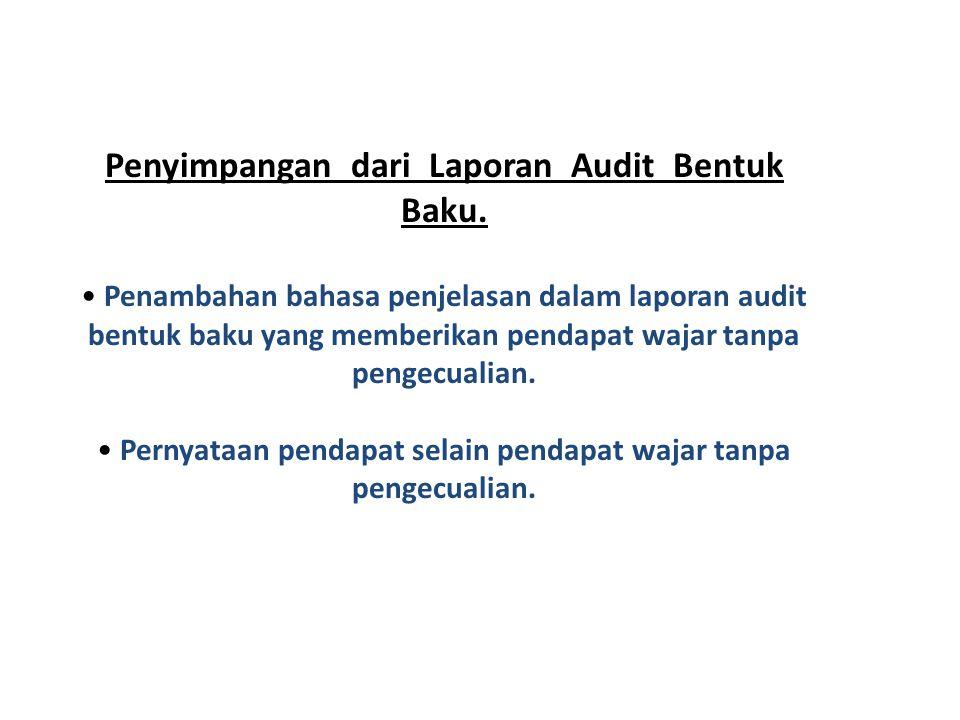 Penyimpangan dari Laporan Audit Bentuk Baku. • P• Penambahan bahasa penjelasan dalam laporan audit bentuk baku yang memberikan pendapat wajar tanpa pe