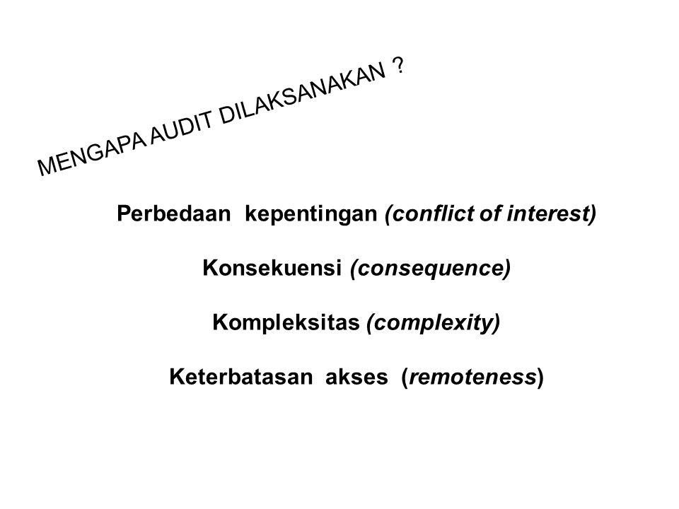MENGAPA AUDIT DILAKSANAKAN ? Perbedaan kepentingan (conflict of interest) Konsekuensi (consequence) Kompleksitas (complexity) Keterbatasan akses (remo
