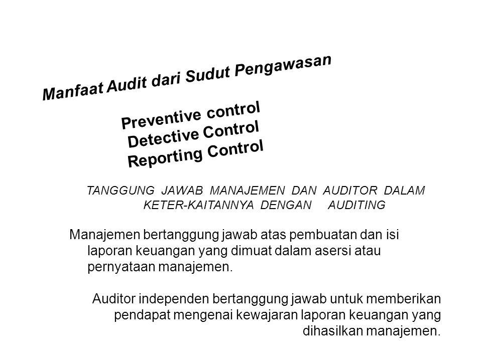 Manfaat Audit dari Sudut Pengawasan Preventive control Detective Control Reporting Control TANGGUNG JAWAB MANAJEMEN DAN AUDITOR DALAM KETER-KAITANNYA