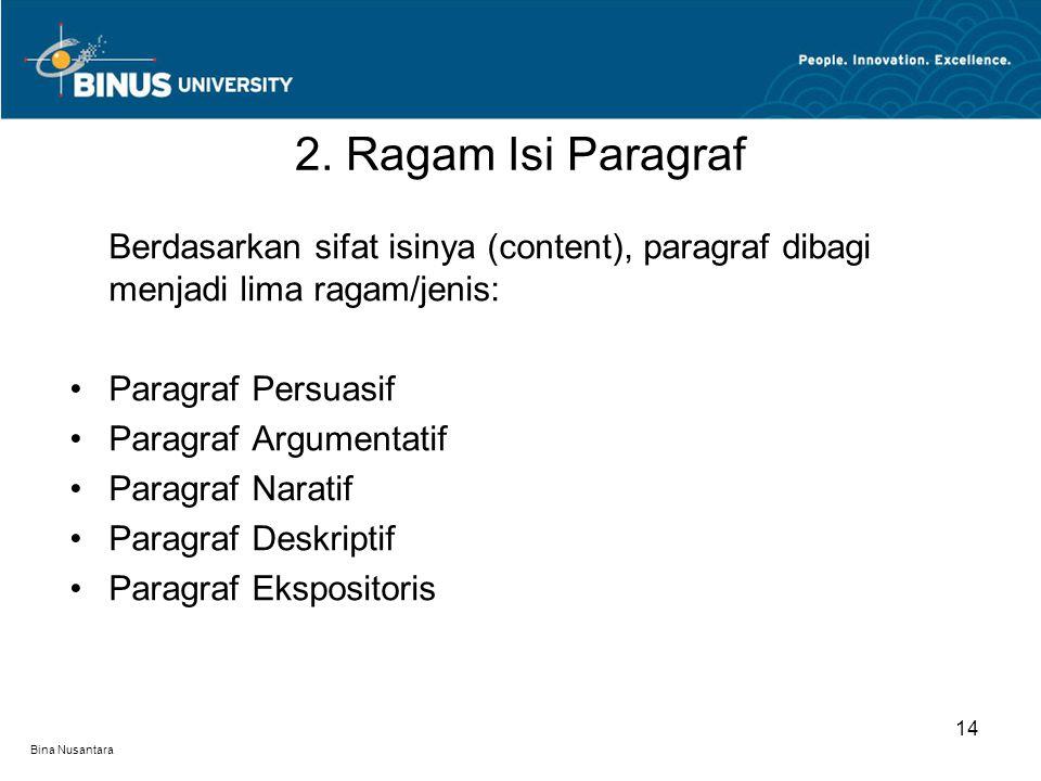 Bina Nusantara Berdasarkan sifat isinya (content), paragraf dibagi menjadi lima ragam/jenis: •Paragraf Persuasif •Paragraf Argumentatif •Paragraf Naratif •Paragraf Deskriptif •Paragraf Ekspositoris 2.