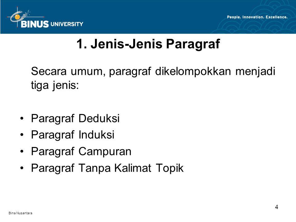 Bina Nusantara Secara umum, paragraf dikelompokkan menjadi tiga jenis: •Paragraf Deduksi •Paragraf Induksi •Paragraf Campuran •Paragraf Tanpa Kalimat Topik 1.