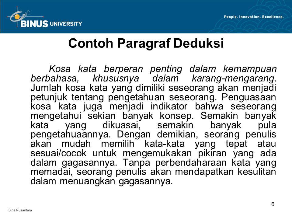 Bina Nusantara Paragraf induksi dimulai dengan sejumlah rincian yang kemudian disimpulkan pada akhir paragraf.
