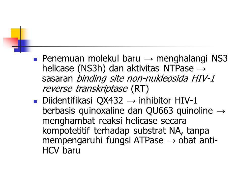  Penemuan molekul baru → menghalangi NS3 helicase (NS3h) dan aktivitas NTPase → sasaran binding site non-nukleosida HIV-1 reverse transkriptase (RT)