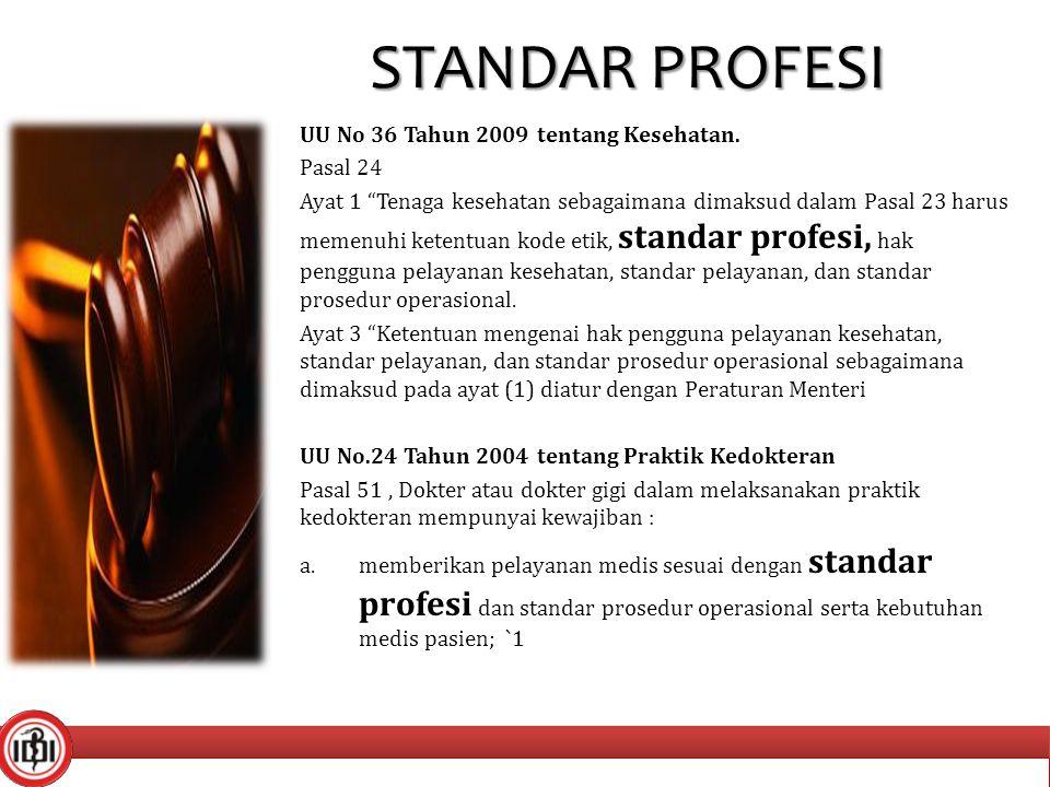"""STANDAR PROFESI UU No 36 Tahun 2009 tentang Kesehatan. Pasal 24 Ayat 1 """"Tenaga kesehatan sebagaimana dimaksud dalam Pasal 23 harus memenuhi ketentuan"""