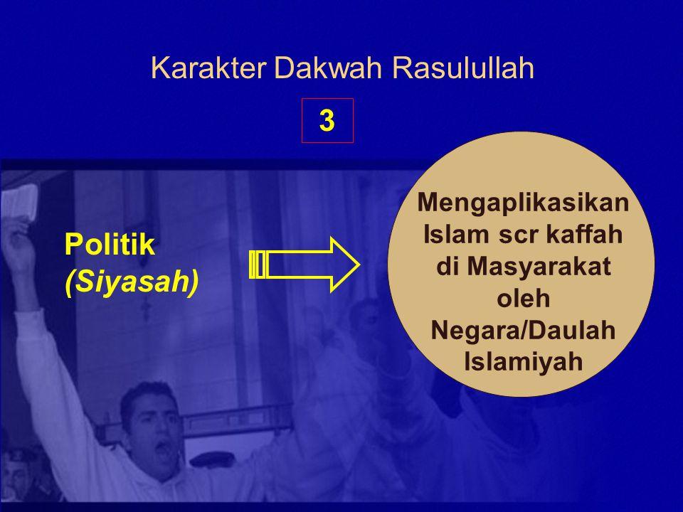 Karakter Dakwah Rasulullah 3 Politik (Siyasah) Mengaplikasikan Islam scr kaffah di Masyarakat oleh Negara/Daulah lslamiyah