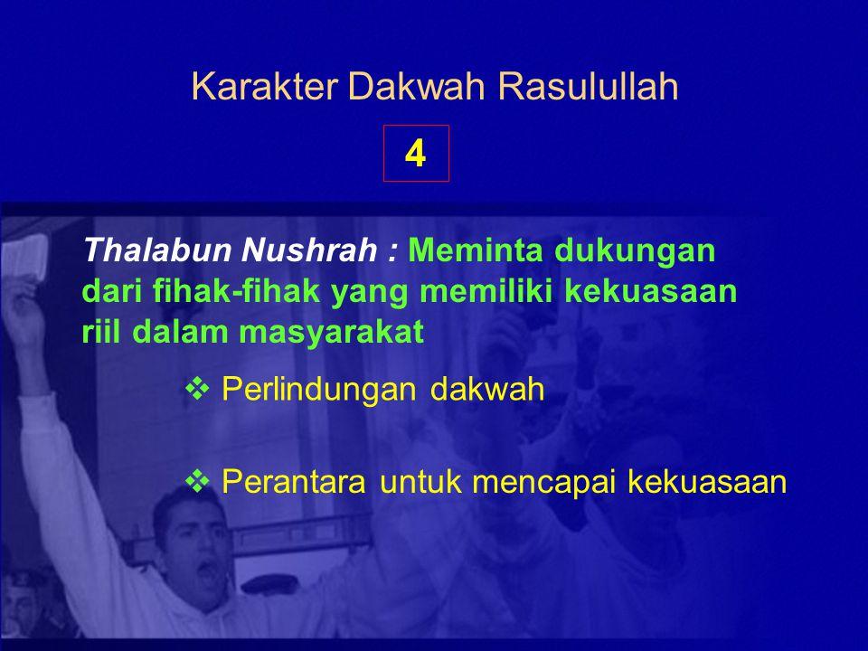 Karakter Dakwah Rasulullah Thalabun Nushrah : Meminta dukungan dari fihak-fihak yang memiliki kekuasaan riil dalam masyarakat  Perlindungan dakwah 