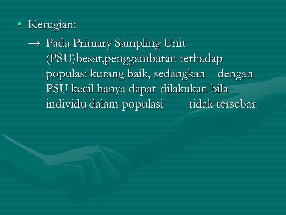 •Kerugian: → Pada Primary Sampling Unit (PSU)besar,penggambaran terhadap populasi kurang baik, sedangkan dengan PSU kecil hanya dapat dilakukan bila i