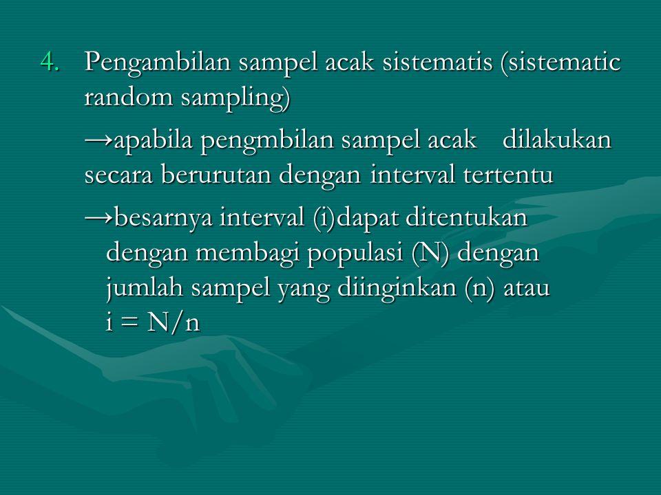 4.Pengambilan sampel acak sistematis (sistematic random sampling) →apabila pengmbilan sampel acak dilakukan secara berurutan dengan interval tertentu