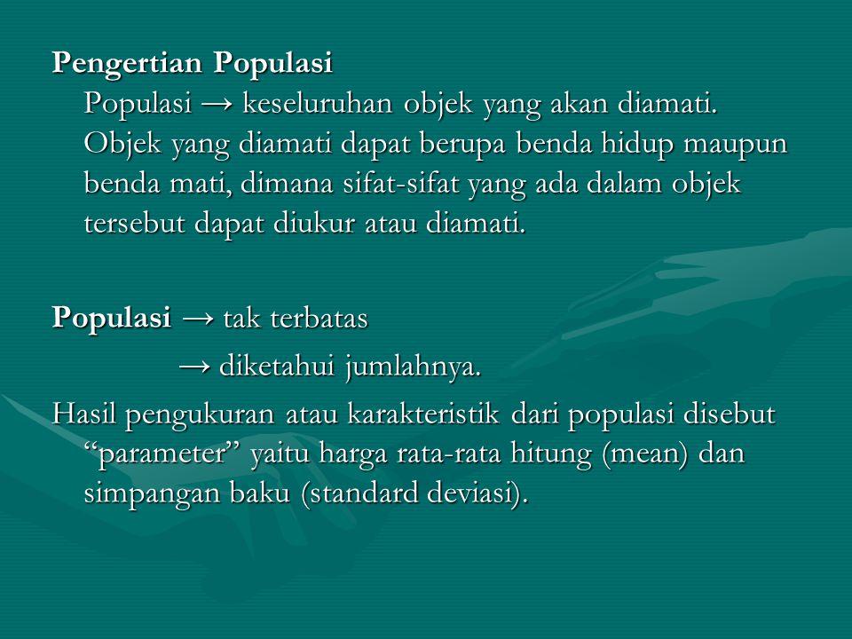 Pengertian Populasi Populasi → keseluruhan objek yang akan diamati. Objek yang diamati dapat berupa benda hidup maupun benda mati, dimana sifat-sifat