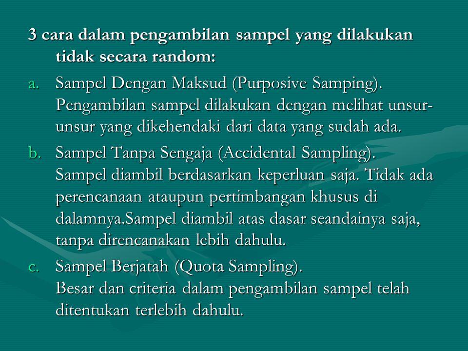 3 cara dalam pengambilan sampel yang dilakukan tidak secara random: a.Sampel Dengan Maksud (Purposive Samping). Pengambilan sampel dilakukan dengan me