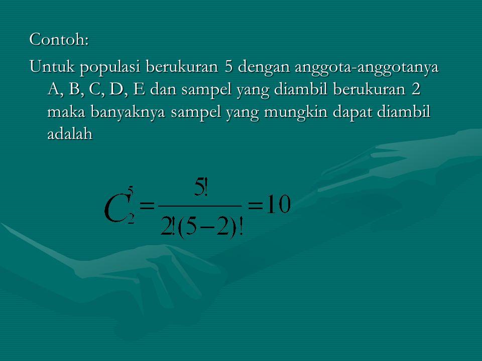 Contoh: Untuk populasi berukuran 5 dengan anggota-anggotanya A, B, C, D, E dan sampel yang diambil berukuran 2 maka banyaknya sampel yang mungkin dapa