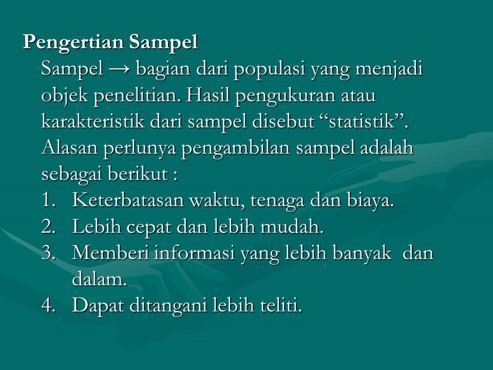 """Pengertian Sampel Sampel → bagian dari populasi yang menjadi objek penelitian. Hasil pengukuran atau karakteristik dari sampel disebut """"statistik"""". Al"""