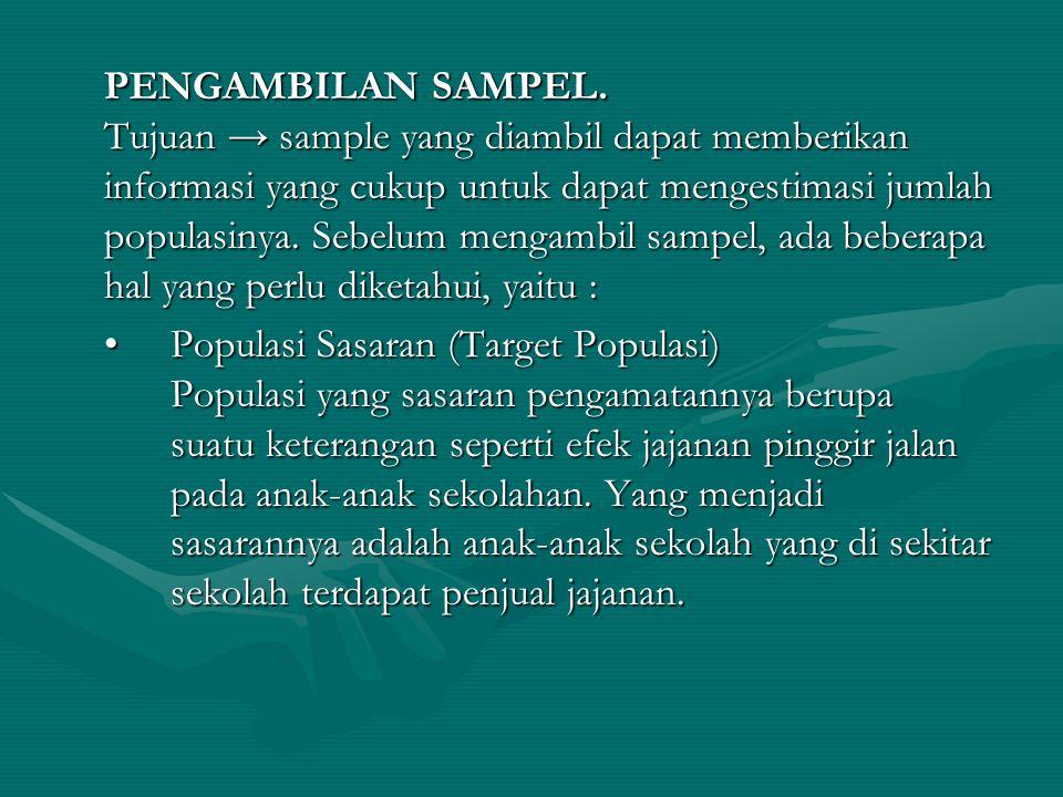 PENGAMBILAN SAMPEL. Tujuan → sample yang diambil dapat memberikan informasi yang cukup untuk dapat mengestimasi jumlah populasinya. Sebelum mengambil