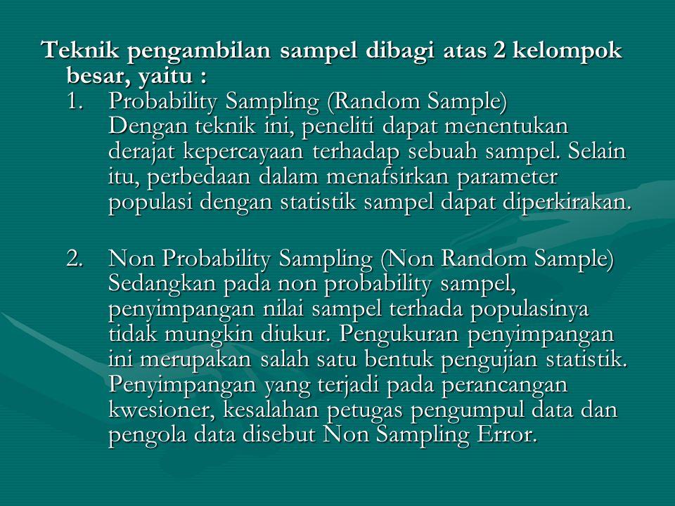 Teknik pengambilan sampel dibagi atas 2 kelompok besar, yaitu : 1.Probability Sampling (Random Sample) Dengan teknik ini, peneliti dapat menentukan de
