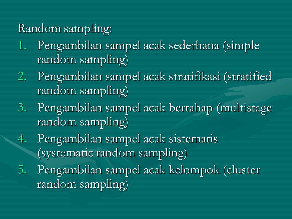 Random sampling: 1.Pengambilan sampel acak sederhana (simple random sampling) 2.Pengambilan sampel acak stratifikasi (stratified random sampling) 3.Pe
