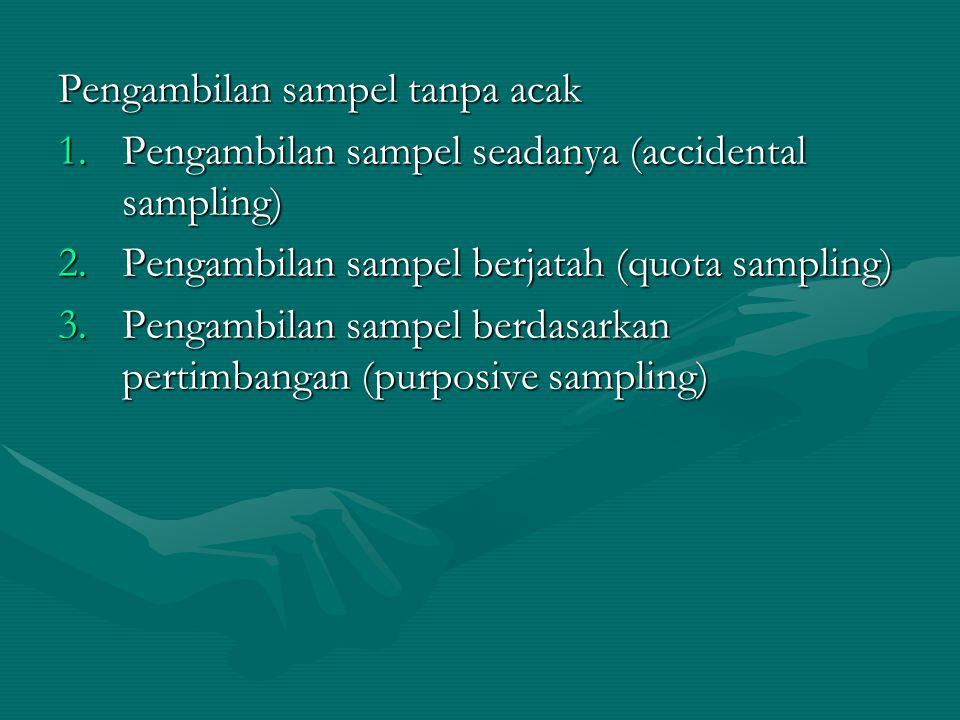 Pengambilan sampel tanpa acak 1.Pengambilan sampel seadanya (accidental sampling) 2.Pengambilan sampel berjatah (quota sampling) 3.Pengambilan sampel