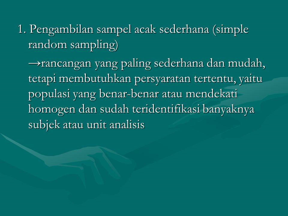 1. Pengambilan sampel acak sederhana (simple random sampling) →rancangan yang paling sederhana dan mudah, tetapi membutuhkan persyaratan tertentu, yai