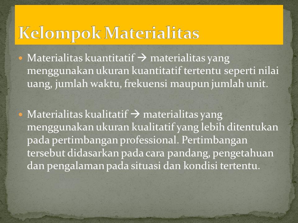  Materialitas kuantitatif  materialitas yang menggunakan ukuran kuantitatif tertentu seperti nilai uang, jumlah waktu, frekuensi maupun jumlah unit.