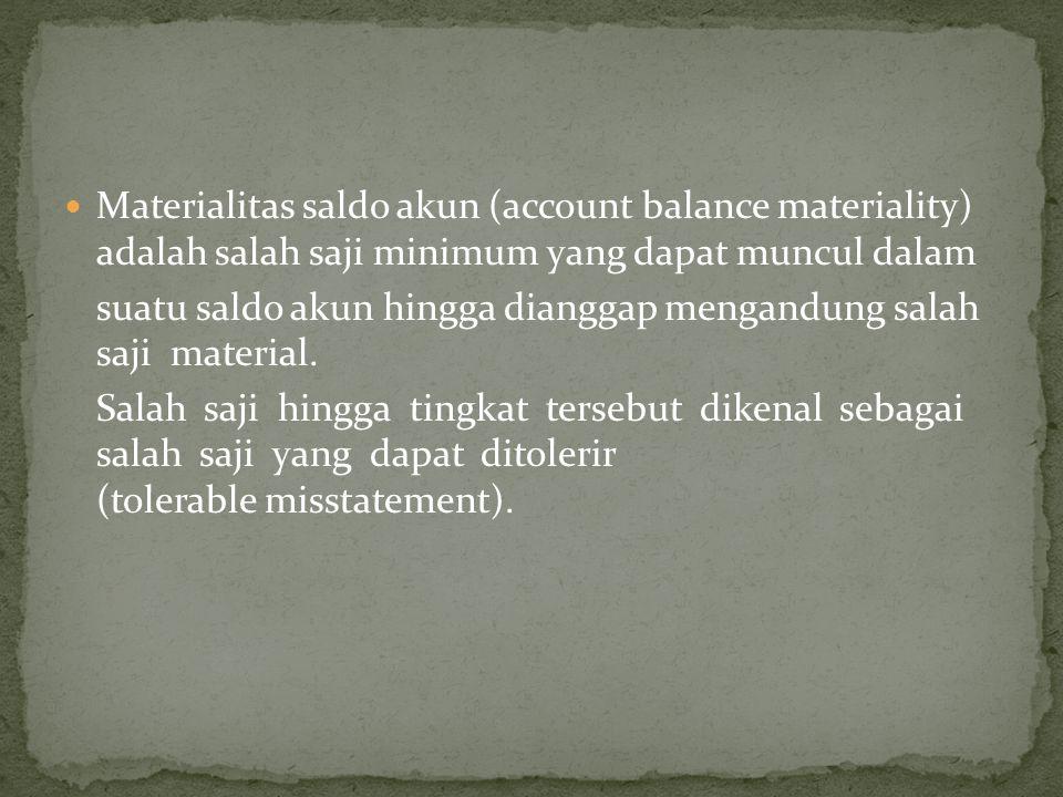  Materialitas saldo akun (account balance materiality) adalah salah saji minimum yang dapat muncul dalam suatu saldo akun hingga dianggap mengandung