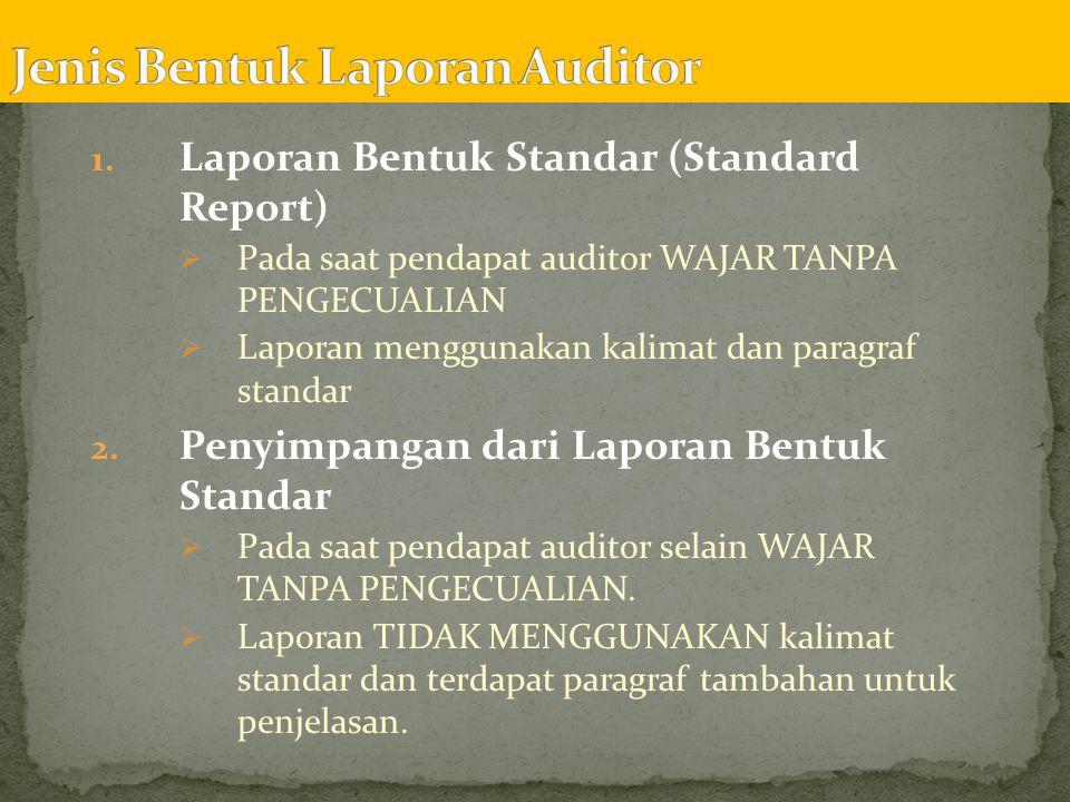  Laporan audit untuk masing-masing kondisi yang memerlukan pembedaan dari laporan standar tanpa pengecualian pada tingkat materialitas yang berbeda :