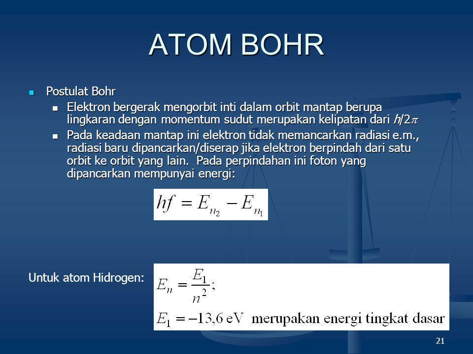 21 ATOM BOHR  Postulat Bohr  Elektron bergerak mengorbit inti dalam orbit mantap berupa lingkaran dengan momentum sudut merupakan kelipatan dari h/2