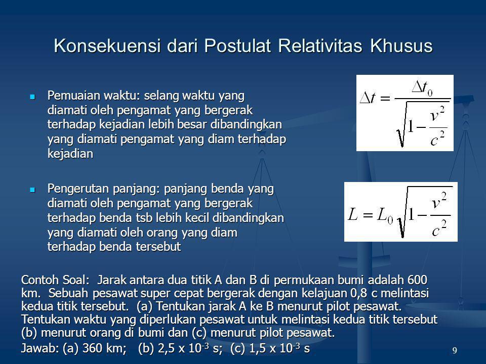 9 Konsekuensi dari Postulat Relativitas Khusus  Pemuaian waktu: selang waktu yang diamati oleh pengamat yang bergerak terhadap kejadian lebih besar d