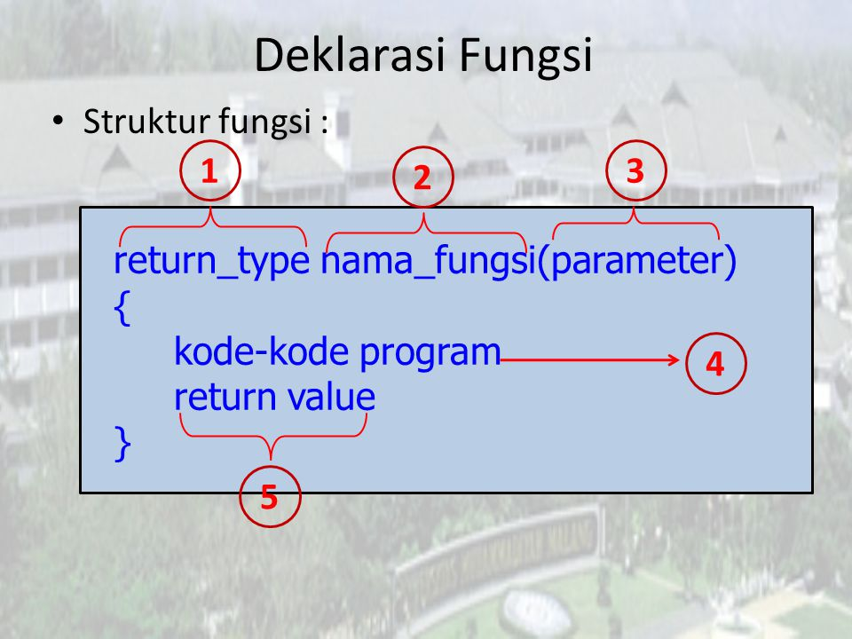 Deklarasi Fungsi • Struktur fungsi : return_type nama_fungsi(parameter) { kode-kode program return value } 1 4 2 3 5