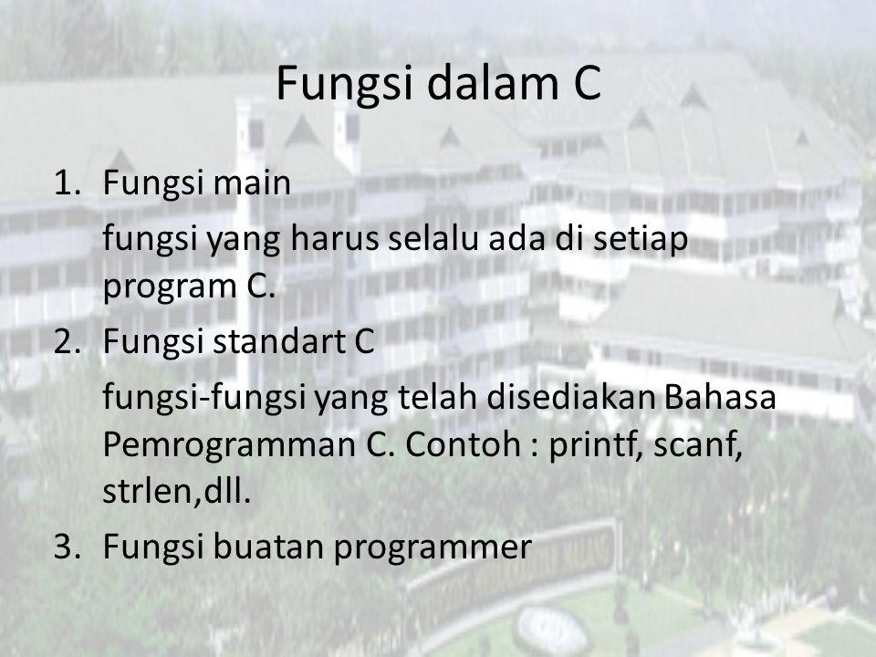 Alasan Penggunaan Fungsi • Untuk menghindari operasi/instruksi yang sama ditulis berulang kali.