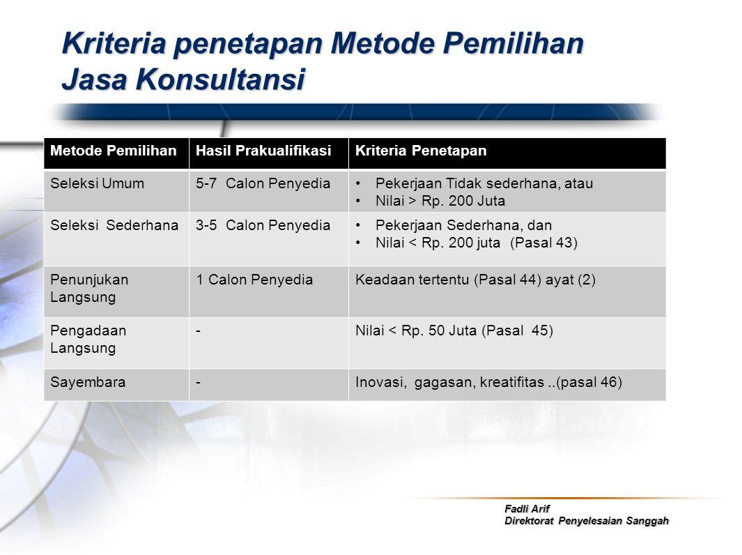 Fadli Arif Direktorat Penyelesaian Sanggah Kriteria penetapan Metode Pemilihan Jasa Konsultansi Metode PemilihanHasil PrakualifikasiKriteria Penetapan