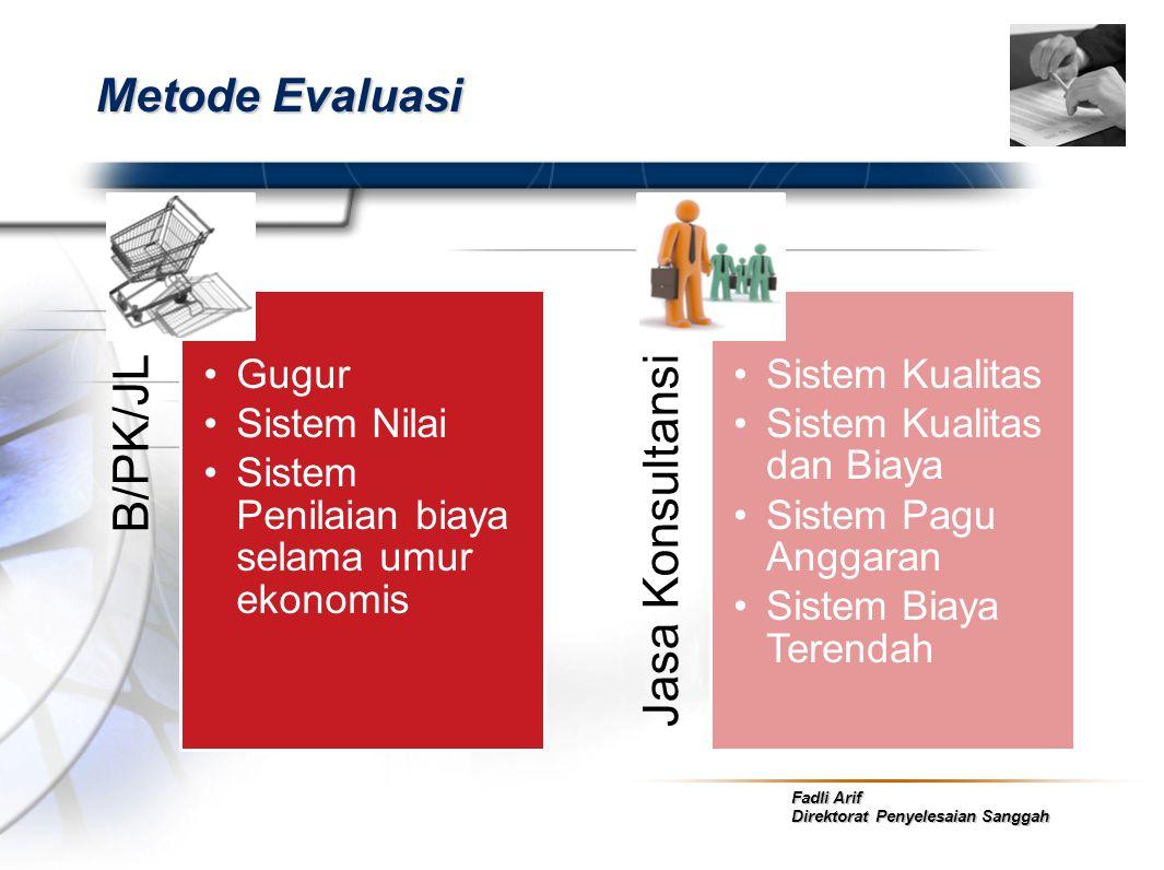 Fadli Arif Direktorat Penyelesaian Sanggah Metode Evaluasi B/PK/JL •Gugur •Sistem Nilai •Sistem Penilaian biaya selama umur ekonomis Jasa Konsultansi