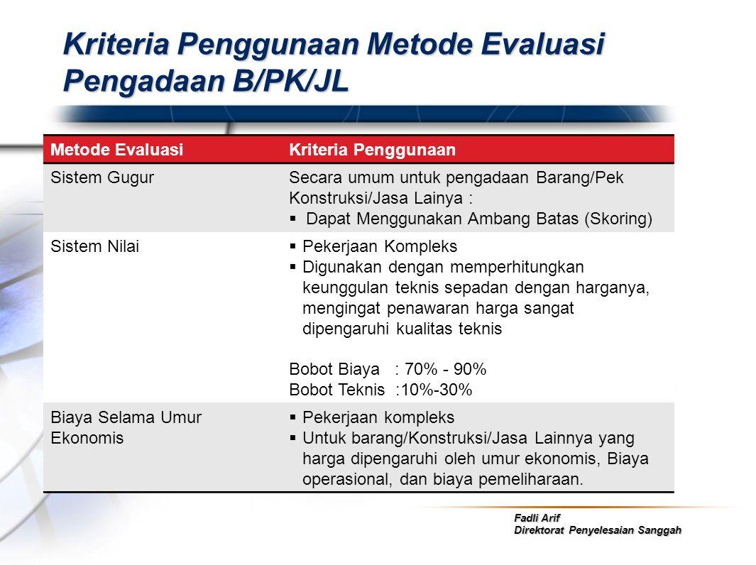 Fadli Arif Direktorat Penyelesaian Sanggah Kriteria Penggunaan Metode Evaluasi Pengadaan B/PK/JL Metode EvaluasiKriteria Penggunaan Sistem GugurSecara