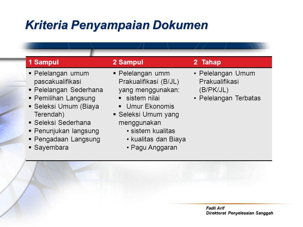 Fadli Arif Direktorat Penyelesaian Sanggah Kriteria Penyampaian Dokumen 1 Sampul2 Sampul2 Tahap  Pelelangan umum pascakualifikasi  Pelelangan Sederh