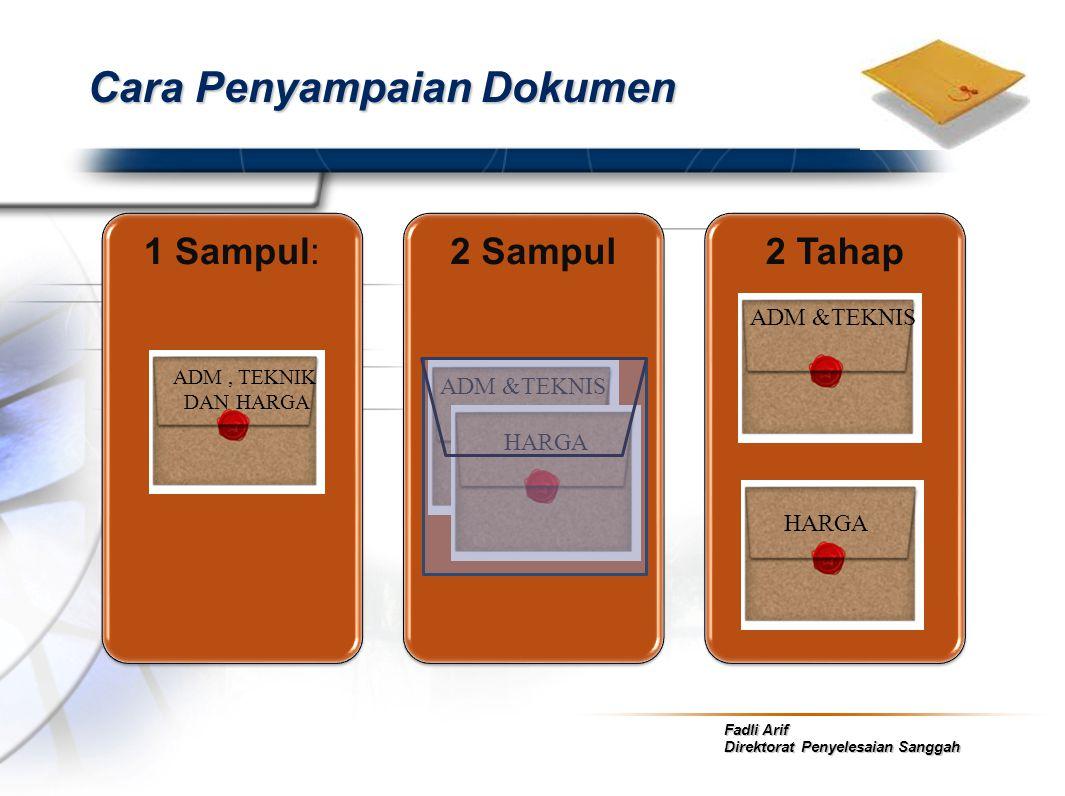 Fadli Arif Direktorat Penyelesaian Sanggah Cara Penyampaian Dokumen 1 Sampul:2 Sampul2 Tahap ADM, TEKNIK DAN HARGA ADM &TEKNIS HARGA ADM &TEKNIS HARGA