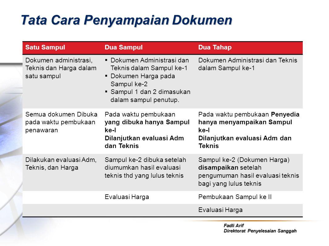 Fadli Arif Direktorat Penyelesaian Sanggah Tata Cara Penyampaian Dokumen Satu SampulDua SampulDua Tahap Dokumen administrasi, Teknis dan Harga dalam s