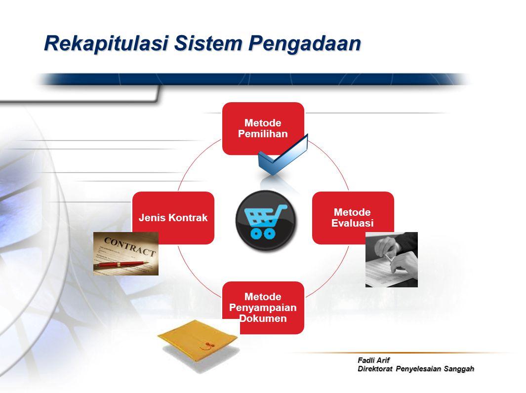 Fadli Arif Direktorat Penyelesaian Sanggah Rekapitulasi Sistem Pengadaan Metode Pemilihan Metode Evaluasi Metode Penyampaian Dokumen Jenis Kontrak