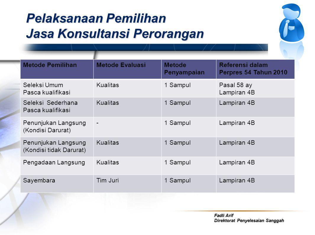 Fadli Arif Direktorat Penyelesaian Sanggah Pelaksanaan Pemilihan Jasa Konsultansi Perorangan Metode PemilihanMetode EvaluasiMetode Penyampaian Referen