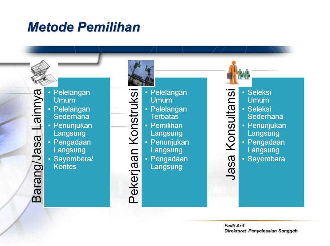 Fadli Arif Direktorat Penyelesaian Sanggah Metode Pemilihan Barang/Jasa Lainnya •Pelelangan Umum •Pelelangan Sederhana •Penunjukan Langsung •Pengadaan