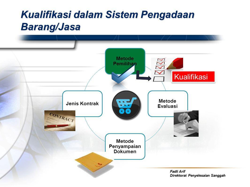 Fadli Arif Direktorat Penyelesaian Sanggah Kualifikasi dalam Sistem Pengadaan Barang/Jasa Metode Pemilihan Metode Evaluasi Metode Penyampaian Dokumen
