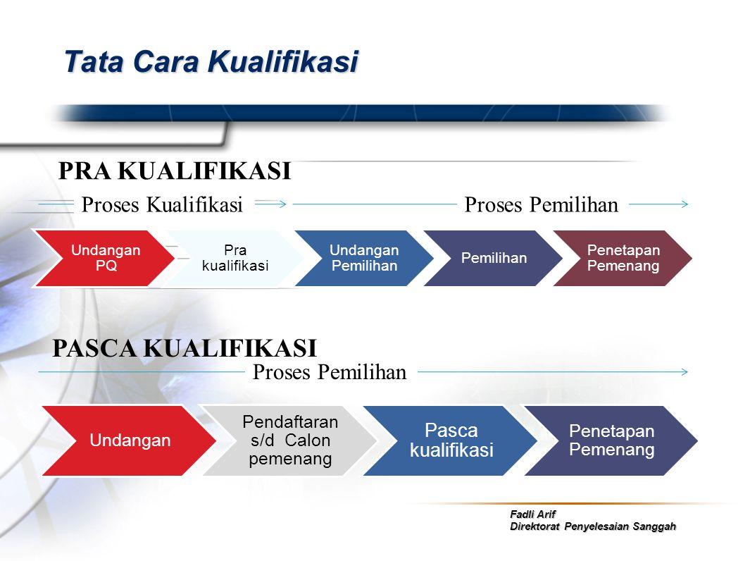 Fadli Arif Direktorat Penyelesaian Sanggah Tata Cara Kualifikasi Undangan PQ Pra kualifikasi Undangan Pemilihan Pemilihan Penetapan Pemenang Undangan