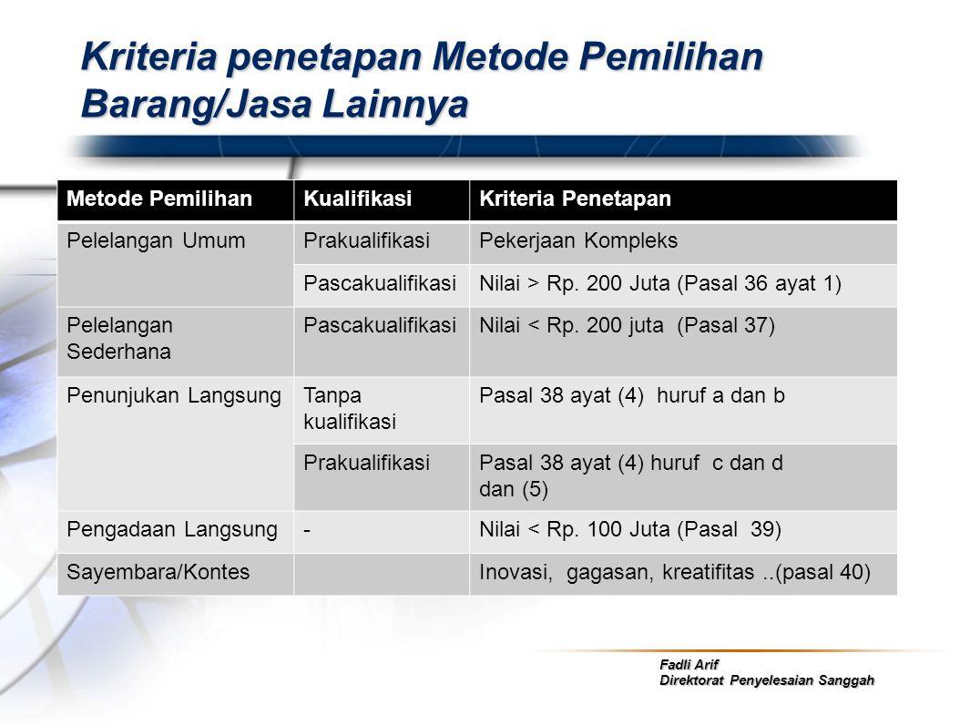 Fadli Arif Direktorat Penyelesaian Sanggah Kriteria penetapan Metode Pemilihan Barang/Jasa Lainnya Metode PemilihanKualifikasiKriteria Penetapan Pelel