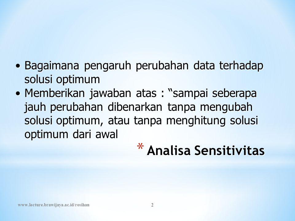 """* Analisa Sensitivitas •Bagaimana pengaruh perubahan data terhadap solusi optimum •Memberikan jawaban atas : """"sampai seberapa jauh perubahan dibenarka"""
