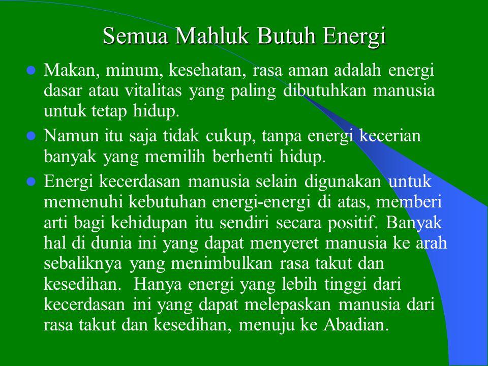 Semua Mahluk Butuh Energi  Makan, minum, kesehatan, rasa aman adalah energi dasar atau vitalitas yang paling dibutuhkan manusia untuk tetap hidup.