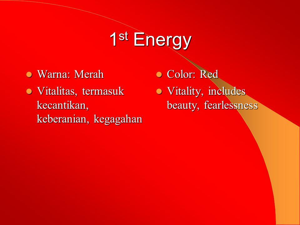 1 st Energy  Warna: Merah  Vitalitas, termasuk kecantikan, keberanian, kegagahan  Color: Red  Vitality, includes beauty, fearlessness