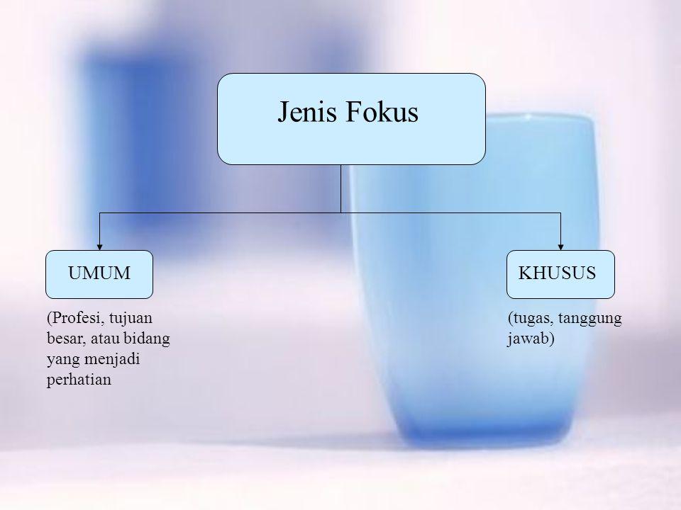 Jenis Fokus UMUMKHUSUS (Profesi, tujuan besar, atau bidang yang menjadi perhatian (tugas, tanggung jawab)